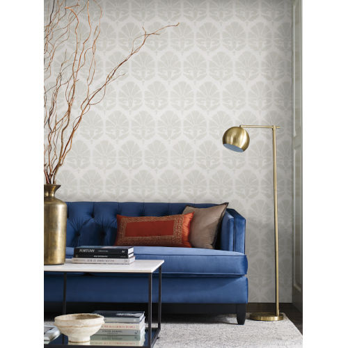 Ronald Redding Handcrafted Naturals Lily White and Cream Ottoman Fans Wallpaper