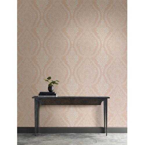 Ronald Redding Handcrafted Naturals Pink Heritage Damask Wallpaper