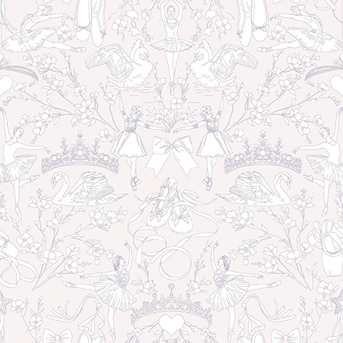 A Perfect World Pearl and Pink Ballet Toile Wallpaper - SAMPLE SWATCH ONLY