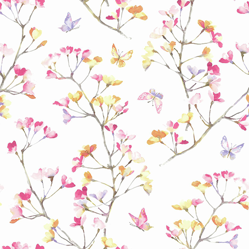 A Perfect World Pink, Orange and Purple Watercolor Branch Wallpaper