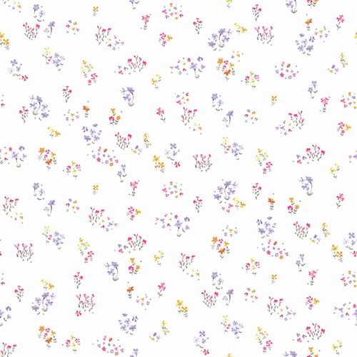 A Perfect World Pink, Orange and Purple Watercolor Floral Bouquet Wallpaper - SAMPLE SWATCH ONLY