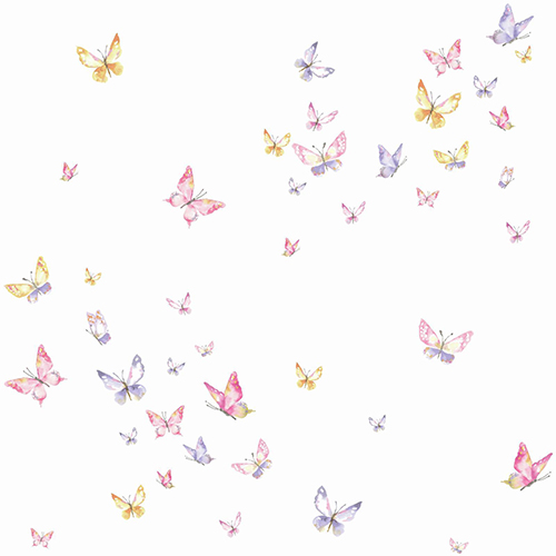 A Perfect World Pink, Orange and Purple Watercolor Butterflies Wallpaper
