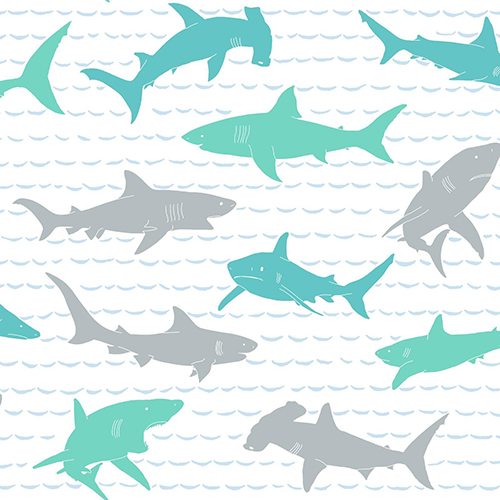 A Perfect World Teal and Silver Shark Charades Wallpaper
