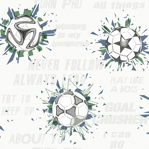 A Perfect World Navy and Kelly Soccer Ball Blast Wallpaper - SAMPLE SWATCH ONLY