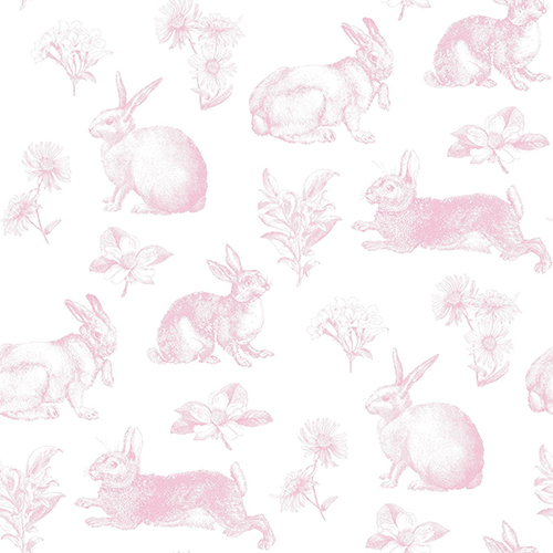 A Perfect World Pink Bunny Toile Wallpaper