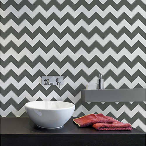 A Perfect World Black Chevron Sidewall Wallpaper - SAMPLE SWATCH ONLY
