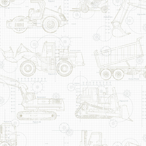 A Perfect World Neutral On White Construction Blueprint Wallpaper