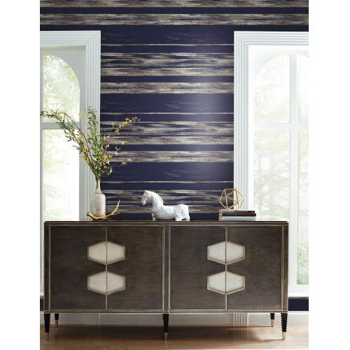 Ronald Redding 24 Karat Navy Horizontal Dry Brush Wallpaper