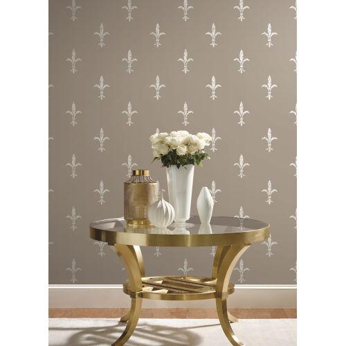 Ronald Redding 24 Karat Glint and Cream Fleur De Lis Wallpaper