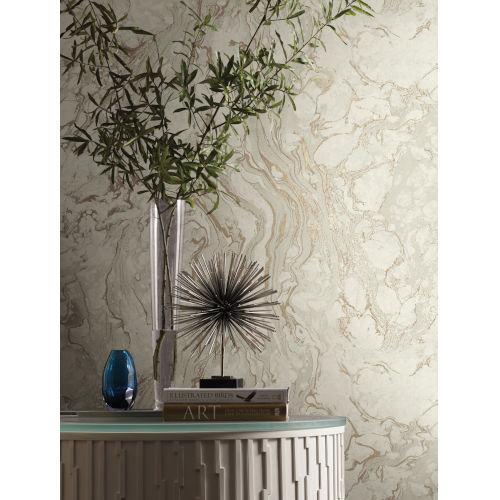 Ronald Redding 24 Karat White and Gold Polished Marble Wallpaper