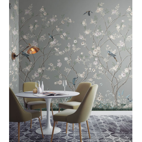 Mural Resource Library Gray Lingering Garden Wallpaper