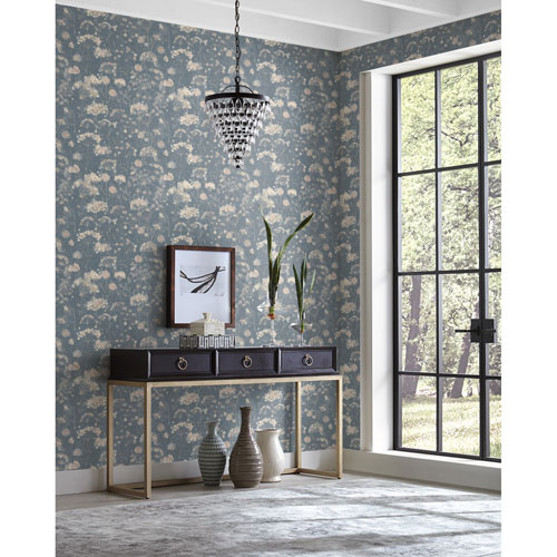 Candice Olson Botanical Dreams Dark Blue Botanical Fantasy Wallpaper