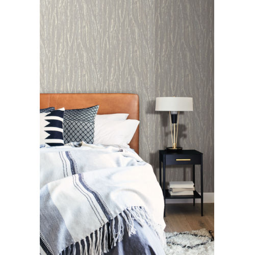 Antonina Vella Elegant Earth Gray Native Leaves Bohemian Wallpaper