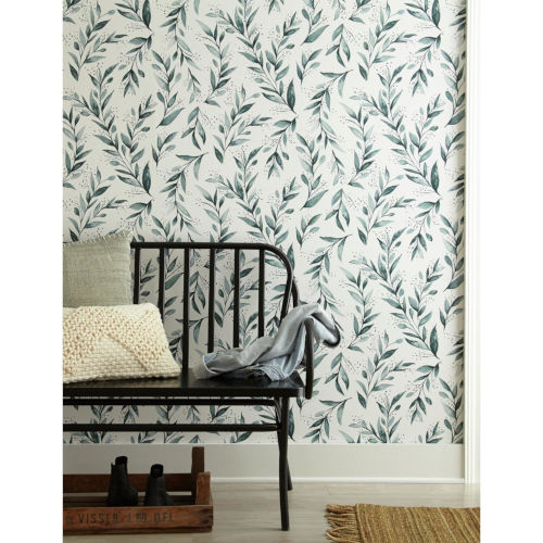 Magnolia Home Teal Branch Peel and Stick Wallpaper