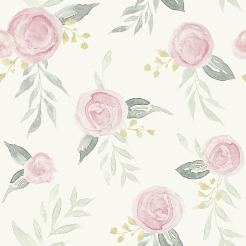 Magnolia Home Pink Watercolor Rose Peel and Stick Wallpaper