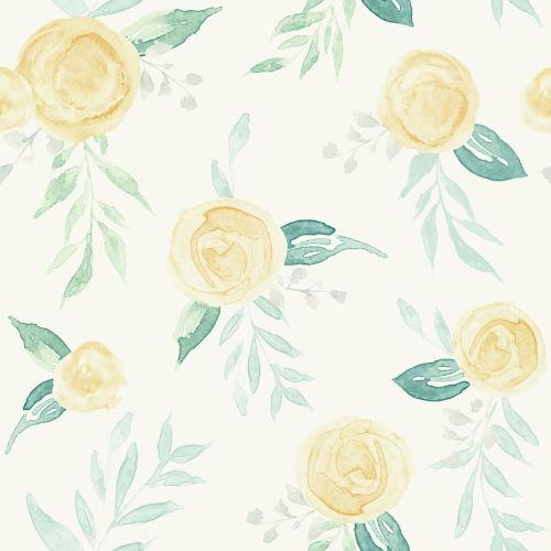 Magnolia Home Yellow Watercolor Rose Peel and Stick Wallpaper