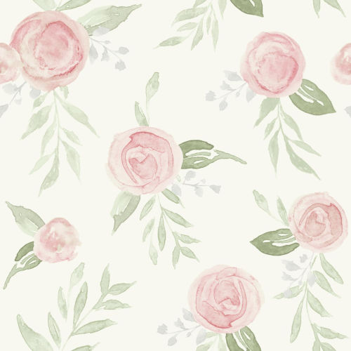 Magnolia Home Coral Watercolor Rose Peel and Stick Wallpaper
