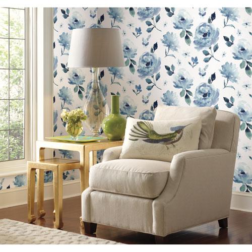 Watercolor Bloom Blue Peel and Stick Wallpaper