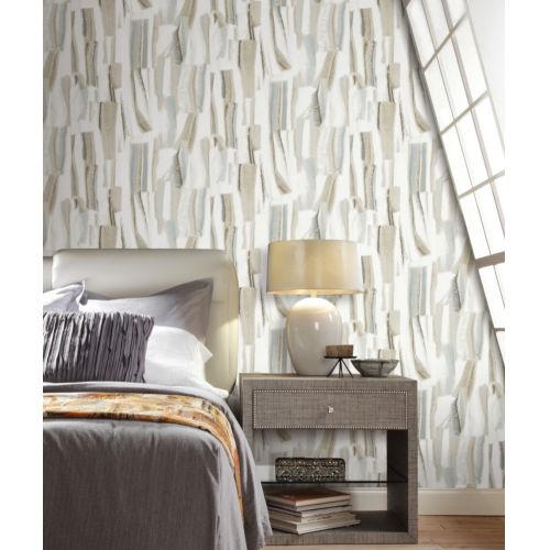Taj Marble Stonework Cream and Jade Peel and Stick Wallpaper