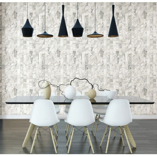 Marble Planks Stonework Warm Neutral Peel and Stick Wallpaper