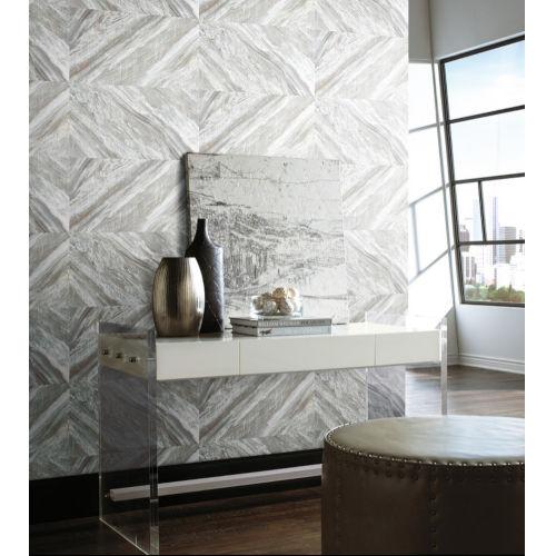 Carrara Horizontal Stonework White and Neutral Peel and Stick Wallpaper