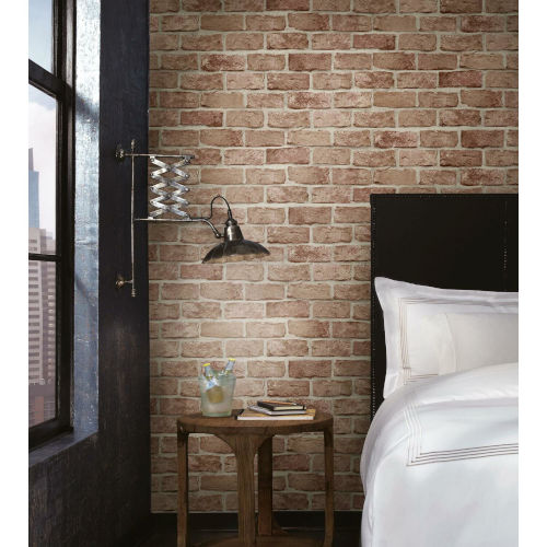 Stonecraft Stretcher Red Brick Peel and Stick Wallpaper