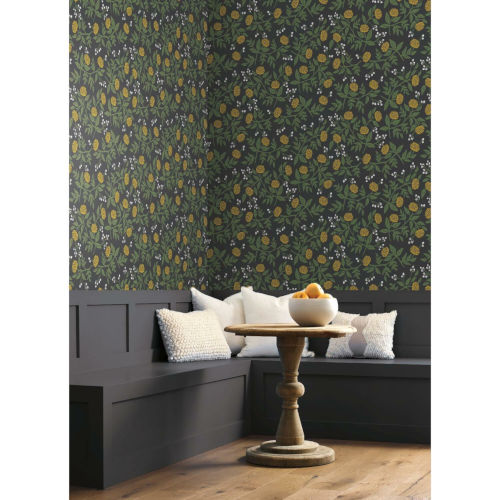Rifle Paper Co. Black and Gold Peonies Wallpaper