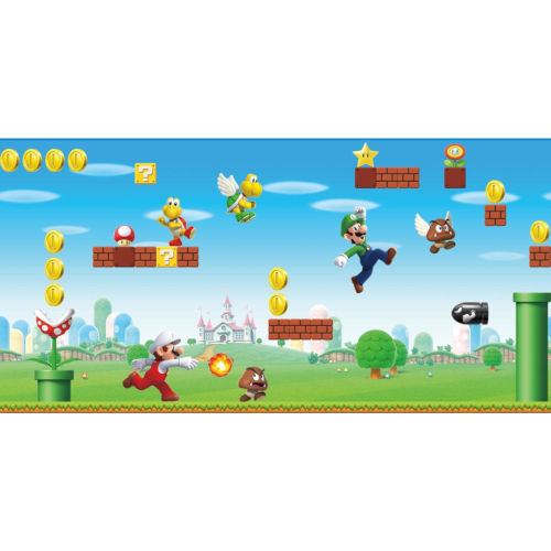 Mario Scene Peel Red, Blue And Green Peel and Stick Wallpaper