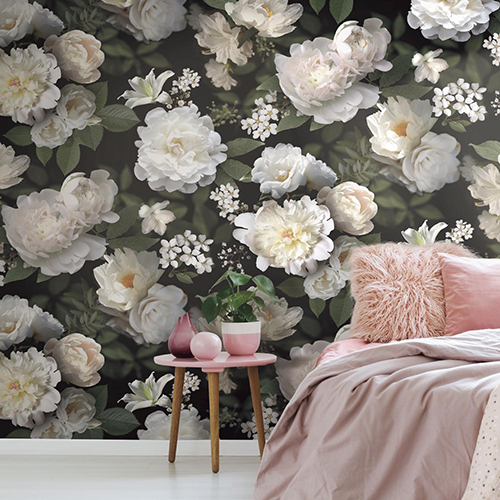 Black Photographic Floral Peel and Stick Wallpaper Mural