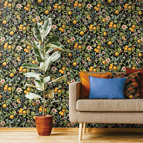 Black and Yellow Citrus Peel and Stick Wallpaper