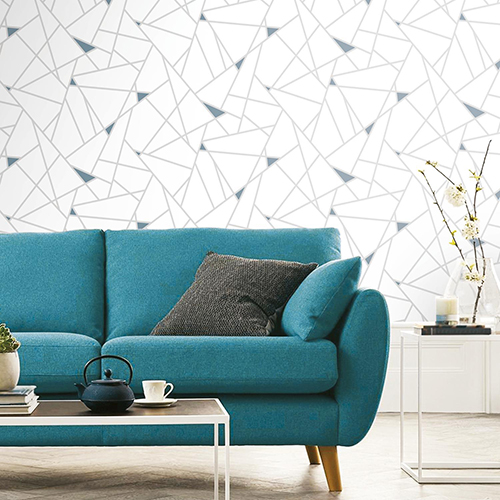 Teal Fracture Peel and Stick Wallpaper