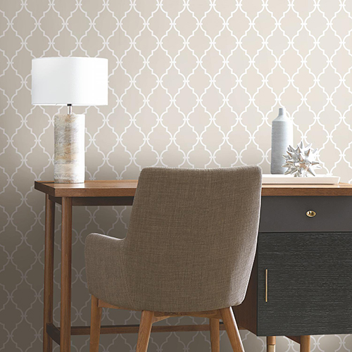 Beige Modern Trellis Peel and Stick Wallpaper