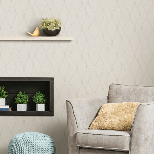 Beige Wave Ogee Peel and Stick Wallpaper