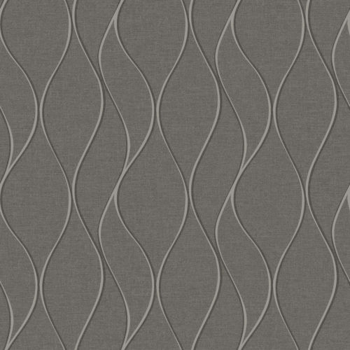 Gray and Silver Wave Ogee Peel and Stick Wallpaper
