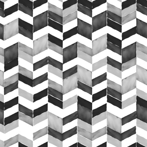 Paul Brent Watercolor Chevron Black, Gray And White Peel And Stick Wallpaper