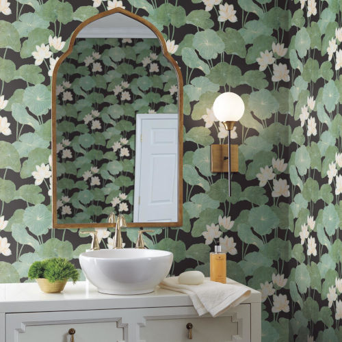 Lily Pad Black And Green Peel And Stick Wallpaper