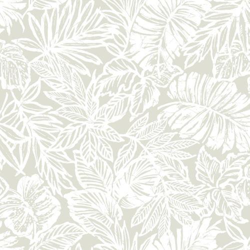 Batik Tropical Leaf Beige Peel And Stick Wallpaper