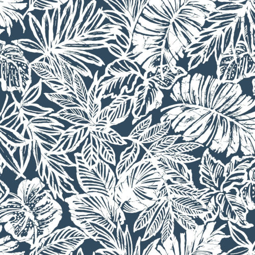 Batik Tropical Leaf Blue Peel And Stick Wallpaper