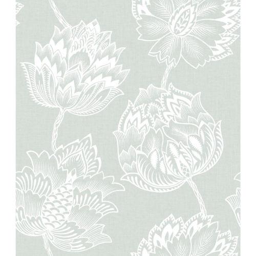 Batik Jacobean Green And White Peel And Stick Wallpaper