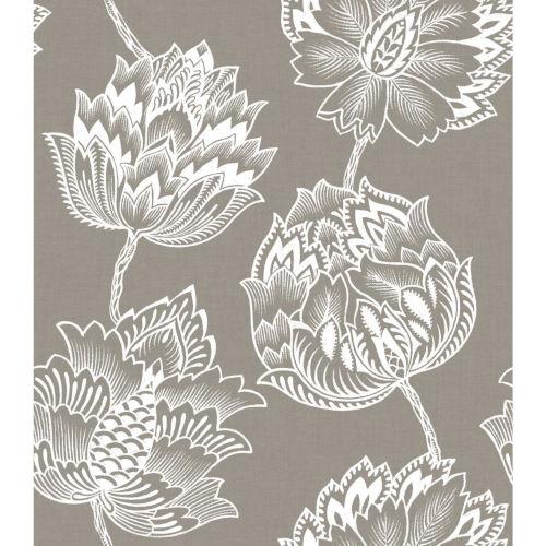 Batik Jacobean Taupe And White Peel And Stick Wallpaper
