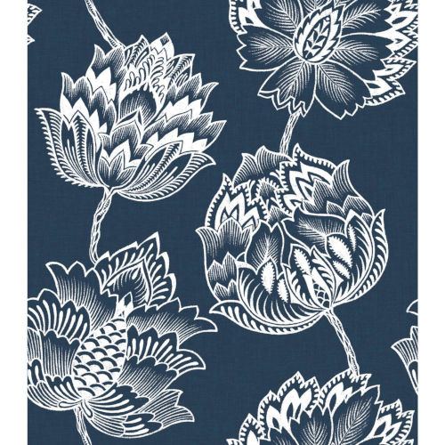 Batik Jacobean Blue And White Peel And Stick Wallpaper