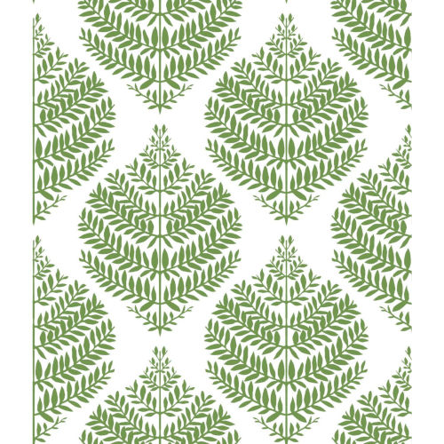 Hygge Fern Damask Green And White Peel And Stick Wallpaper – SAMPLE SWATCH ONLY