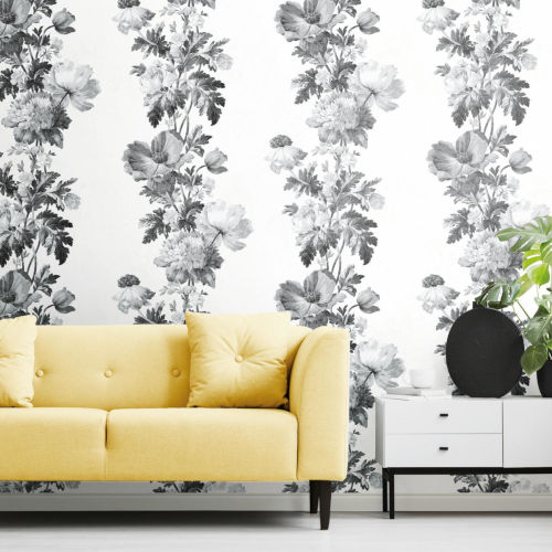 Black and White Watercolor Floral Stripe Peel and Stick Wallpaper