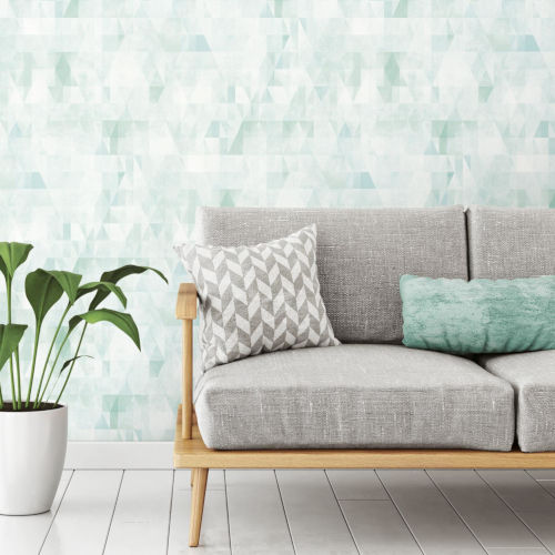 Green and White Prismatic Geo Peel and Stick Wallpaper