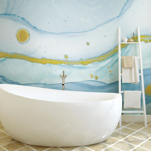 Blue and Gold Sea Foam Peel and Stick Wallpaper