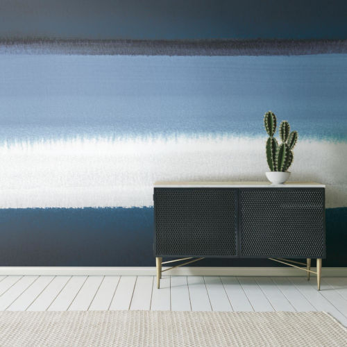 Blue and White Watercolor Horizon Peel and Stick Wallpaper