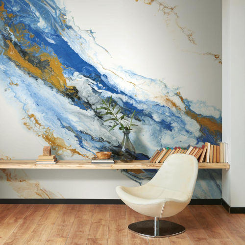 Blue and Gold Cystal Geode Peel and Stick Wallpaper