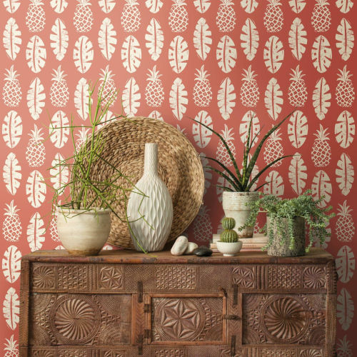 Pineapple Coral White Peel and Stick Wallpaper