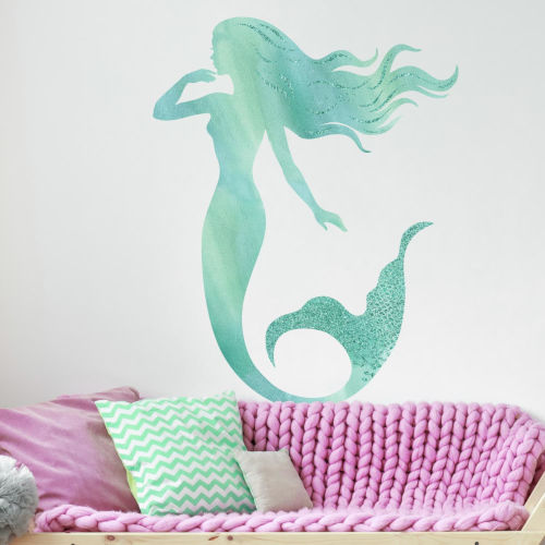 Glitter Mermaid Blue, Aqua And Teal Peel and Stick Gaint Wall Decal