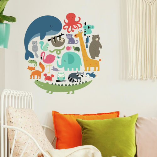 We Are One Animal Red, Orange, Yellow, Blue And Green Peel and Stick wall Decal